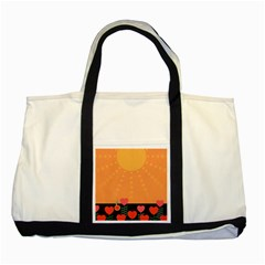 Love Heart Valentine Sun Flowers Two Tone Tote Bag