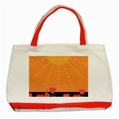 Love Heart Valentine Sun Flowers Classic Tote Bag (Red)