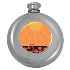 Love Heart Valentine Sun Flowers Round Hip Flask (5 oz)