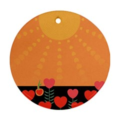 Love Heart Valentine Sun Flowers Round Ornament (Two Sides)