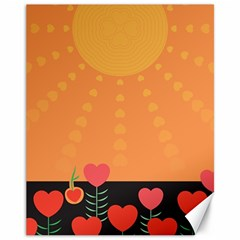 Love Heart Valentine Sun Flowers Canvas 11  x 14