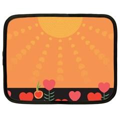 Love Heart Valentine Sun Flowers Netbook Case (xl)