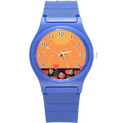 Love Heart Valentine Sun Flowers Round Plastic Sport Watch (S)
