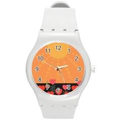 Love Heart Valentine Sun Flowers Round Plastic Sport Watch (M)