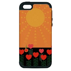Love Heart Valentine Sun Flowers Apple iPhone 5 Hardshell Case (PC+Silicone)