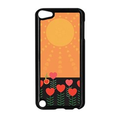 Love Heart Valentine Sun Flowers Apple iPod Touch 5 Case (Black)