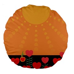 Love Heart Valentine Sun Flowers Large 18  Premium Round Cushions