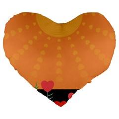 Love Heart Valentine Sun Flowers Large 19  Premium Heart Shape Cushions