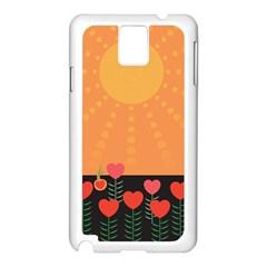 Love Heart Valentine Sun Flowers Samsung Galaxy Note 3 N9005 Case (White)