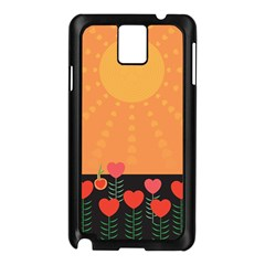Love Heart Valentine Sun Flowers Samsung Galaxy Note 3 N9005 Case (Black)