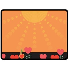 Love Heart Valentine Sun Flowers Double Sided Fleece Blanket (Large)