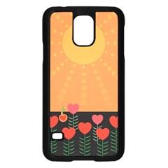 Love Heart Valentine Sun Flowers Samsung Galaxy S5 Case (Black)