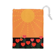 Love Heart Valentine Sun Flowers Drawstring Pouches (Large)