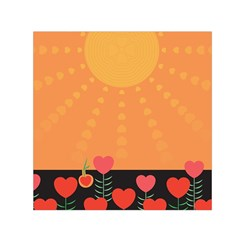 Love Heart Valentine Sun Flowers Small Satin Scarf (Square)