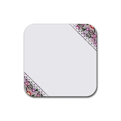 Floral Ornament Baby Girl Design Rubber Square Coaster (4 Pack)