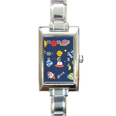 Space Background Design Rectangle Italian Charm Watch