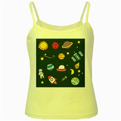 Space Background Design Yellow Spaghetti Tank