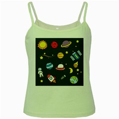 Space Background Design Green Spaghetti Tank