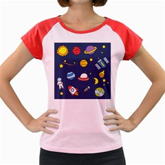 Space Background Design Women s Cap Sleeve T-Shirt