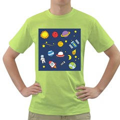 Space Background Design Green T-Shirt