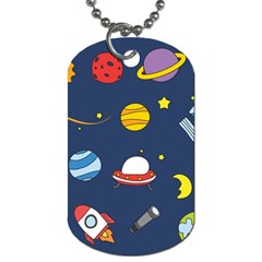 Space Background Design Dog Tag (one Side)