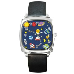 Space Background Design Square Metal Watch