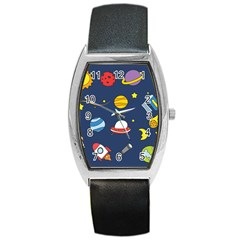 Space Background Design Barrel Style Metal Watch