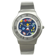 Space Background Design Stainless Steel Watch