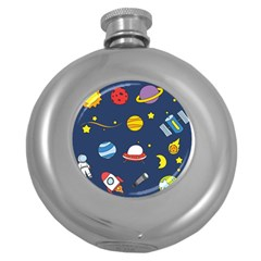Space Background Design Round Hip Flask (5 oz)
