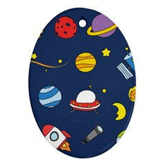 Space Background Design Oval Ornament (two Sides)
