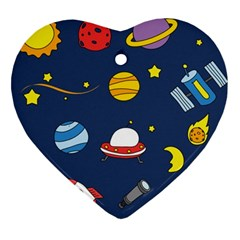 Space Background Design Heart Ornament (two Sides)