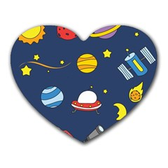 Space Background Design Heart Mousepads