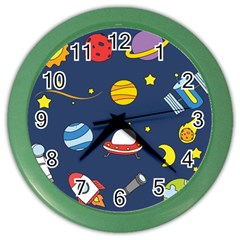 Space Background Design Color Wall Clocks