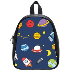 Space Background Design School Bags (Small)