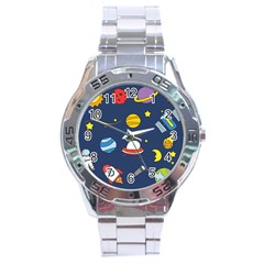 Space Background Design Stainless Steel Analogue Watch