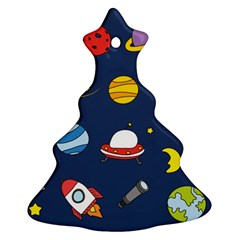Space Background Design Christmas Tree Ornament (two Sides)