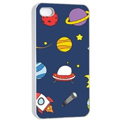 Space Background Design Apple iPhone 4/4s Seamless Case (White)