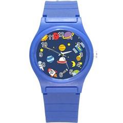 Space Background Design Round Plastic Sport Watch (S)