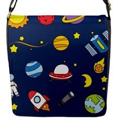 Space Background Design Flap Messenger Bag (S)