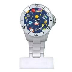 Space Background Design Plastic Nurses Watch