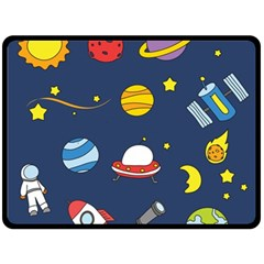 Space Background Design Double Sided Fleece Blanket (Large)