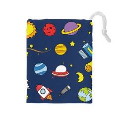 Space Background Design Drawstring Pouches (Large)
