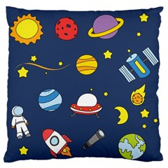 Space Background Design Large Flano Cushion Case (one Side)
