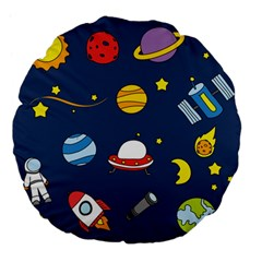 Space Background Design Large 18  Premium Flano Round Cushions
