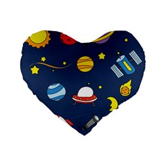 Space Background Design Standard 16  Premium Flano Heart Shape Cushions