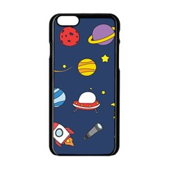 Space Background Design Apple iPhone 6/6S Black Enamel Case
