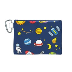 Space Background Design Canvas Cosmetic Bag (M)