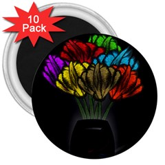 Flowers Painting Still Life Plant 3  Magnets (10 Pack)