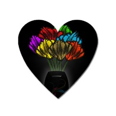 Flowers Painting Still Life Plant Heart Magnet