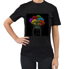 Flowers Painting Still Life Plant Women s T-Shirt (Black) (Two Sided)